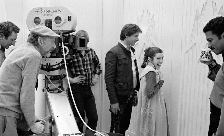 Princesa Leia y Han Solo en backstage de Star Wars